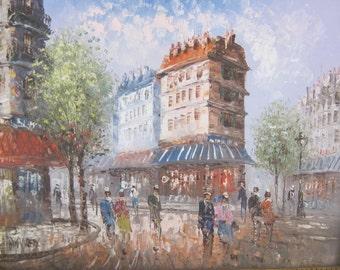 Oil on Canvas Painting of Parisian Street Scene Signed Burnett In Wood Frame