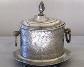 Antique Silverplated Tea Caddy Canister with Lid