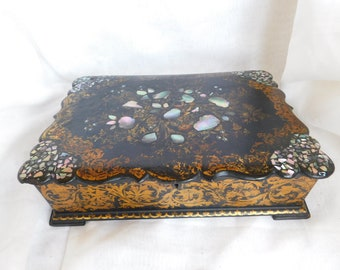 Antique French Paper Mache Writing Slope, Black Laquered, Mother of Pearl Inlay