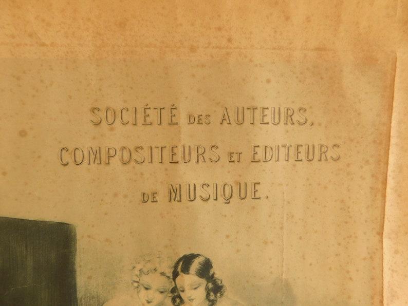 Louis Icart Engraved Certificate For SACEM for the Actor /& Writer Rene Lefevre