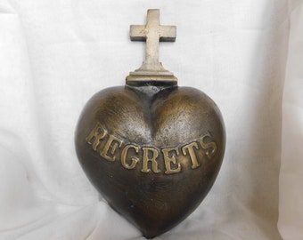 Antique French Bronze Heart Marked Regrets Rare HUGE Piece 21lbs Weight