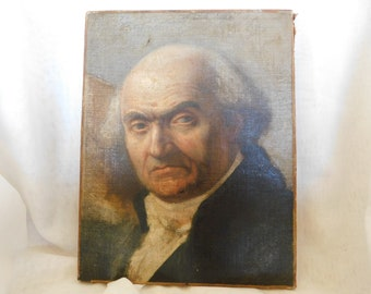 Antique French Oil on Canvas Portrait of Gentleman