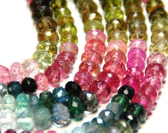 """5"""" line  4.5-5mm AAA WATERMELON TOURMALINE faceted beads - these really are the best (we suggest using 0.10in 0.25mm wire)"""