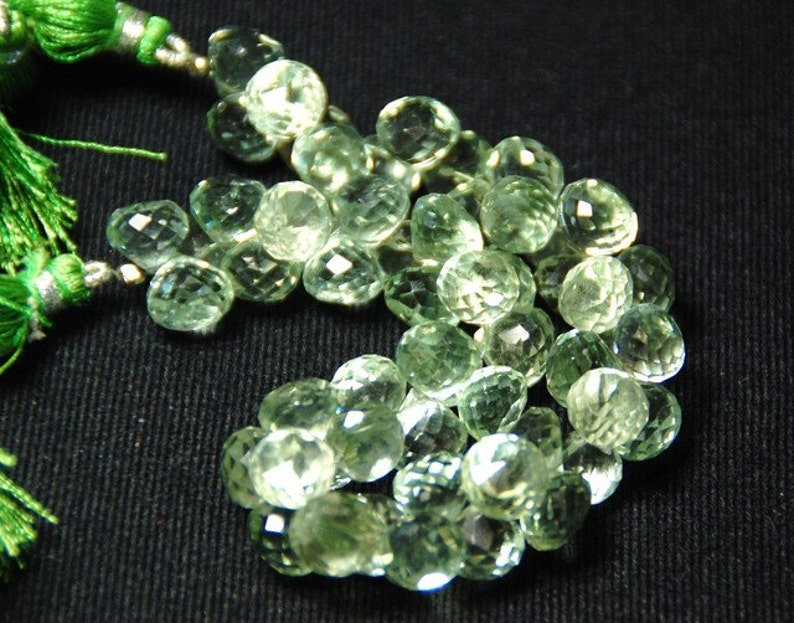 24 10mm GREEN AMETHYST onion shape briolettes  Ref:343816 we suggest using 0.010in 0.25mm wire