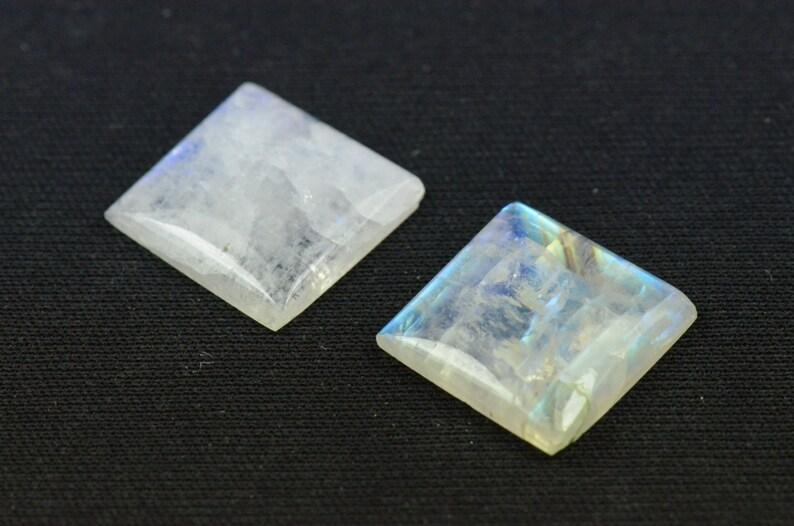 Pair of 16mm square Rainbow Moonstone cabochon 16 x 4mm deep