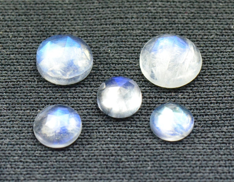 SALE 5 gems 5mm to 6mm Rose cut Rainbow Moonstone 5 and 6mm by 3mm 3.31ct total