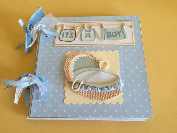 Baby Boy Album Premade Album Baby Scrapbook Newborn Boy Album Etsy