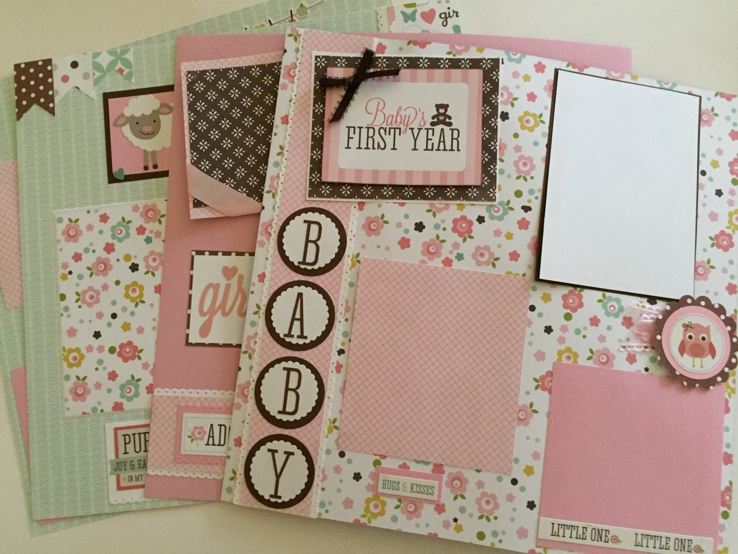 20 Page Baby Girl Premade First Year Scrapbook Pages 12 By12