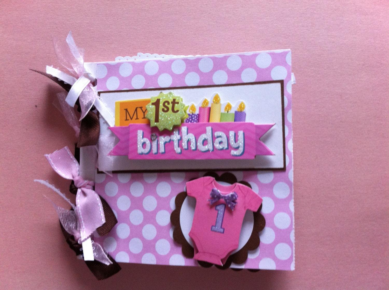 Babys First Birthday Scrapbook Album Baby Girl First Etsy