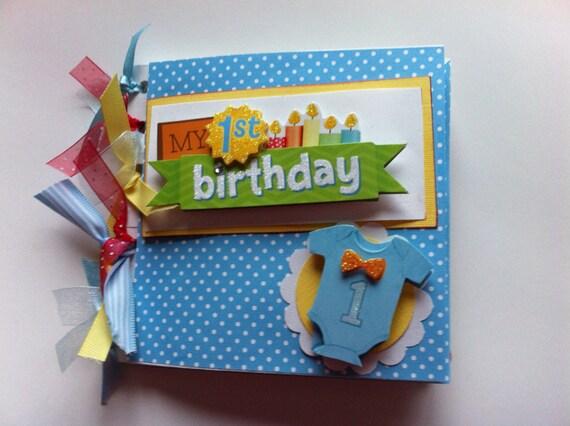 Babys First Birthday Scrapbook Album Baby Boy First Birthday Etsy