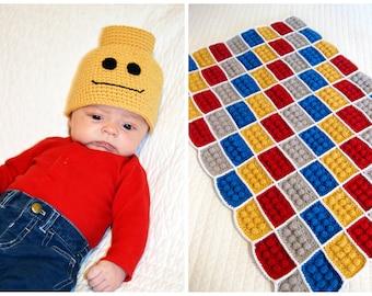 Crochet Block Blanket and Beanie Pattern