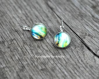 Abstract green and white design dangle glass silver colored base glass cabochon earrings/ Wearable Photo Art*