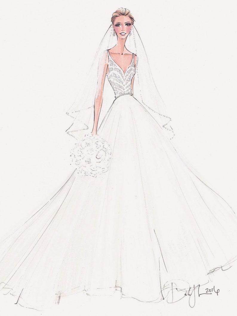 Custom fashion illustration Custom bridal sketch custom bride wedding gift anniversary gift FRONTAL bride bridal illustration