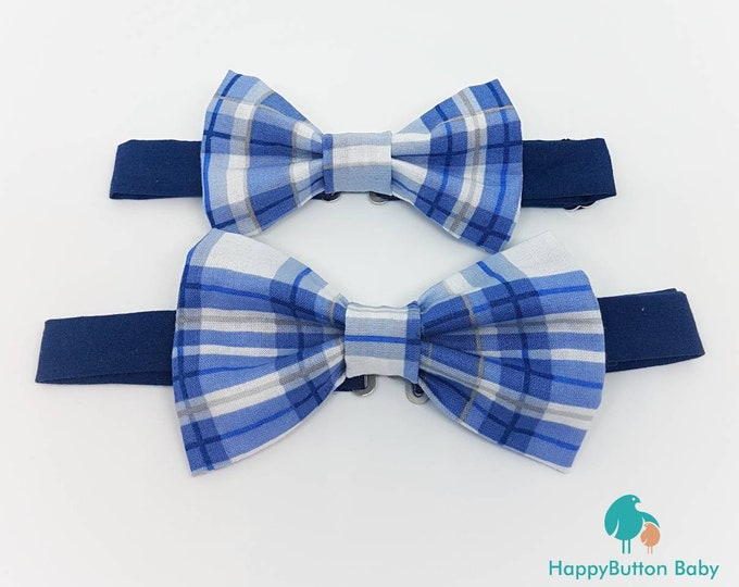 Adjustable Pre-tied Bow Ties - Made in Childrens and Mens sizes - Blue and White Collection