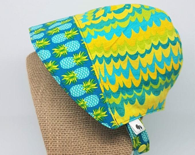 Baby Sun Bonnet - Pineapple Print Baby Bonnet - 3-6 months