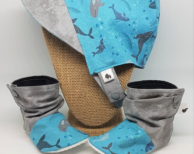 Sun Bonnet and Bootie Gift Set - Whales Baby Hat and Boots - 6-12 months