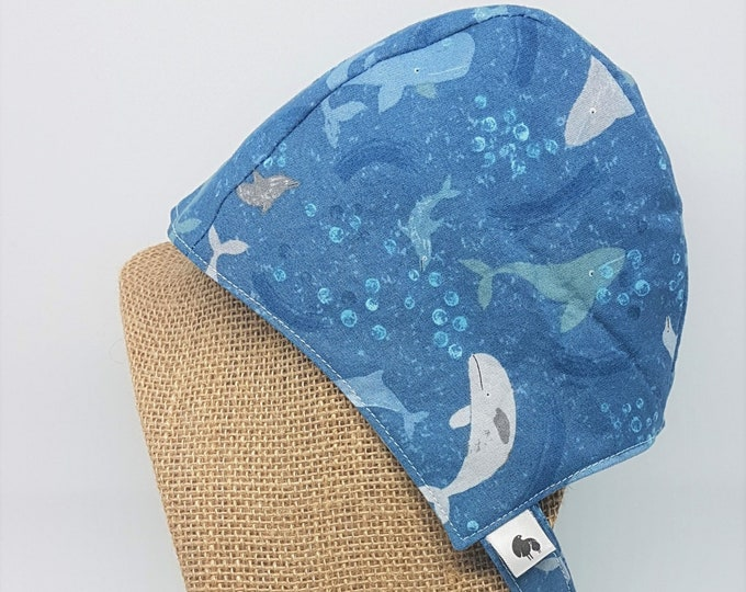 Baby Sun Bonnet - Whale Print Summer Hat - Available from Newborn to 24 months