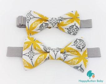 Printed Pre-tied Bow Ties - Made in Kids and Mens Sizes - Yellow and Gray Collection