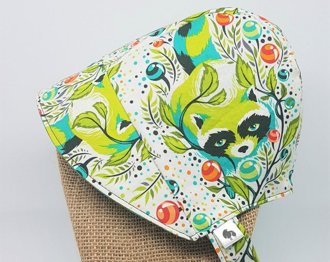 Baby Sun Bonnet - Raccoon Print Reversible Bonnet - Available from Newborn to 24 months