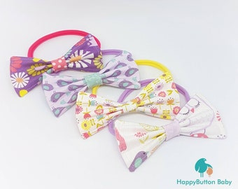 Girl's Reversible Bow Headbands - Pastels Collection