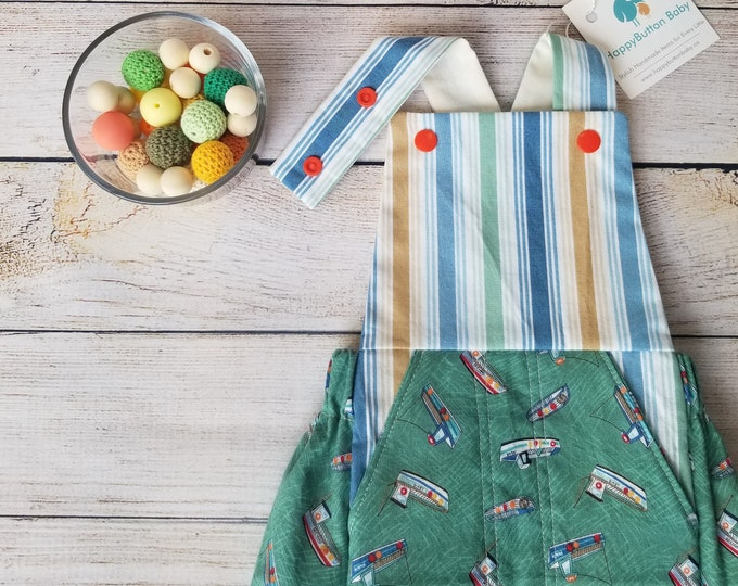 Nautical Themed Baby Romper - Dungaree Style Romper - 0-3 Months