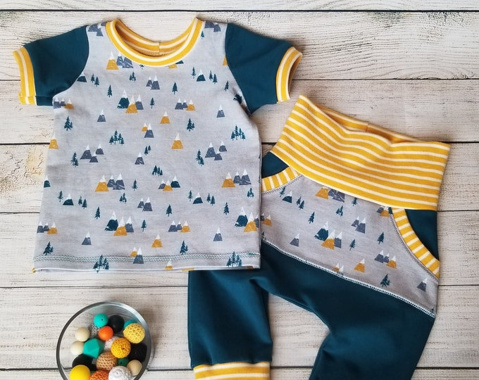 Baby Ringer Tee and Harem Joggers - Grow With Me Clothing for Kids - 3 months up to 12+ months