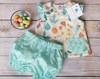 Organic Baby Tunic Top and Diaper Cover - Floral Summer Baby Set - 3-6 Months