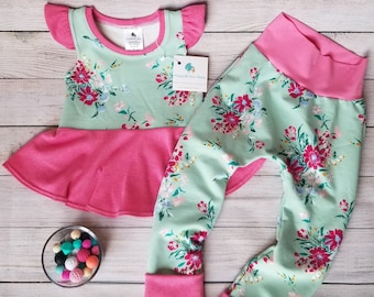 Girls Peplum Top and Harem Joggers - Mint Floral and Pink Clothing Set - 3-4T