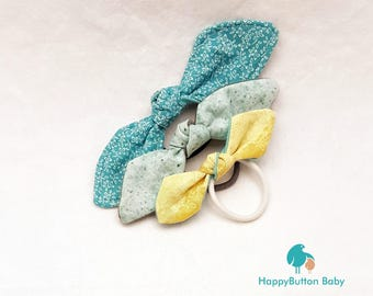 Fabric Knotted Bows - Hair Elastics - 3pc set