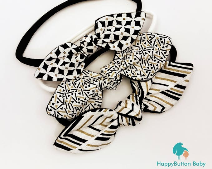 Knotted Bow Headbands - Black, White & Gold - 3pc Set