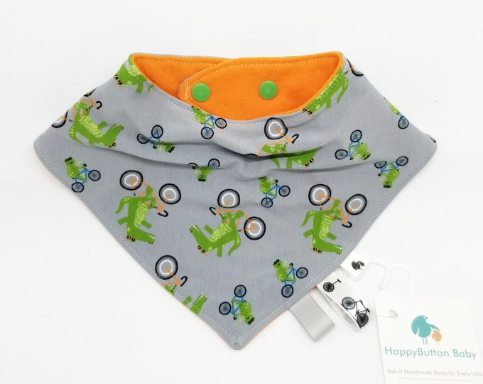Slouchy Bandana Bib - Baby/Toddler Adjustable Teething Bib - Bicycles and Alligators