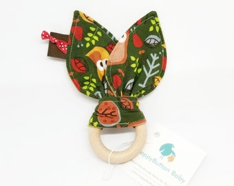 Woodland Teething Toys - Bunny Ear Teether - Various Prints Available