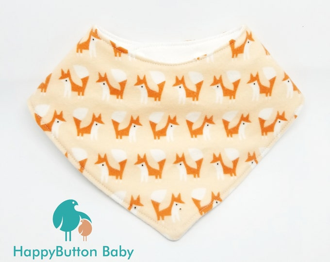 Organic Baby Bandana Bib - Toddler Drool Bib - Foxes