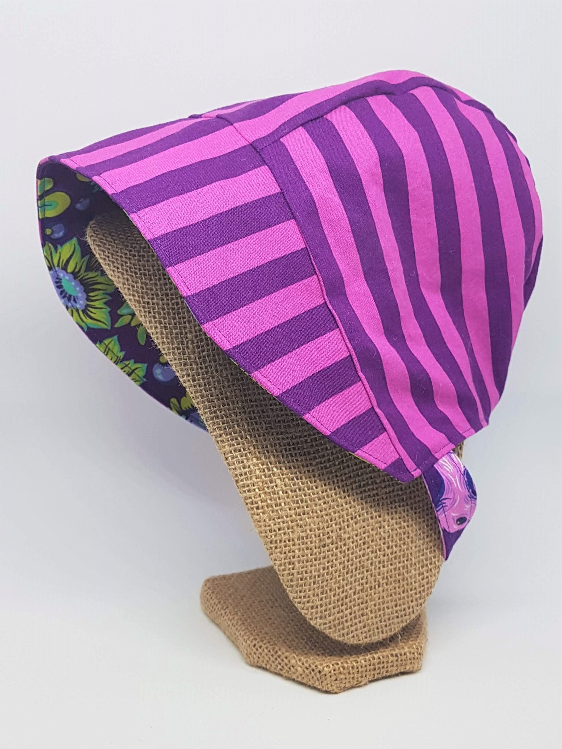 2b6ef2ab1b2f27 Baby Sun Bonnet - Reversible Sun Hat - Available from Size Newborn ...