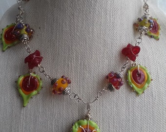 Lampwork Glass Carnivale inspired necklace