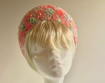 Bouclé halo hat in variety of vibrant colours and small pom poms