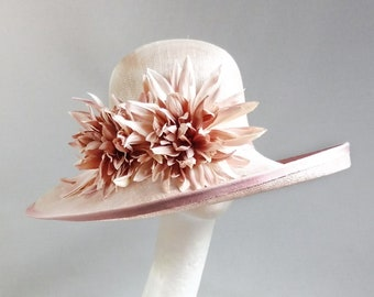 dusty pinktwo tone sinamay hat with ton sur ton flowers size 59cm or 23,6 inch smaller