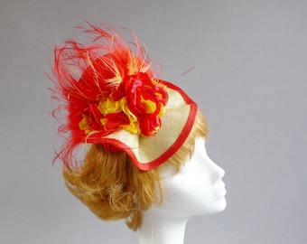Made with Dutch passion Red and Yellow fascinator ton sur ton flowers and feathers on aliceband