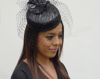 371423c9482a8 Dutch design cocktail hat- fascinator black shiny leatherlook with flower  and optional but included birdcage veil