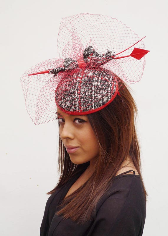 5802858641f9d Couture tweed High Fashion cocktail Hat Fascinator black