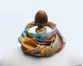 hand printed silk scarf, screen printed, unique scarf, orange and jade