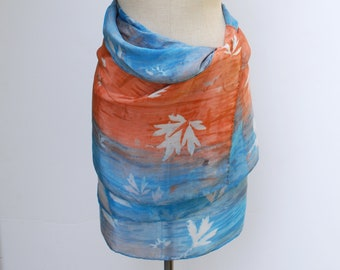 bold tropical spring silk wrap, oversized hand printed shawl, 88editions scarves