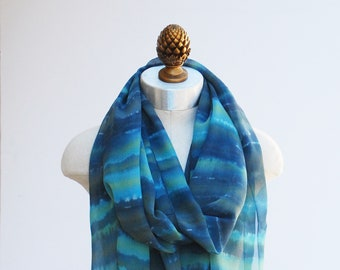 silk chiffon scarf by 88editions, hand painted blue green stripes, sheer spring wrap