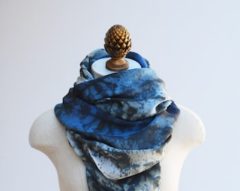 blue ombre silk scarf, oversized hand printed shawl, 88editions scarves