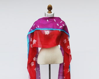 bright bold spring silk veil, oversized hand printed shawl, 88editions scarves