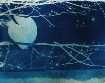 cyanotype print, original art, bird, moon, ooak, one of a kind, small blue art