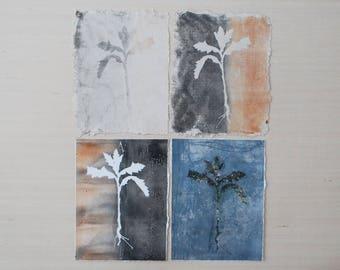 set of 4 botanical gelatin prints on hand made paper
