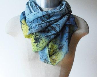 indigo and chartreuse, silk chiffon scarf, 88 editions scarves