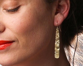 Long Gold Earrings, dangle earrings, tribal earrings, boho earrings, ethnic earrings, 18k gold plated, textured earrings, long thin earrings