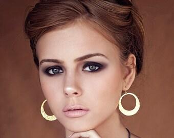 Hoop dangle earrings, Hoop earrings, textured earrings, Gold Earrings, boho earrings, matte gold earrings, round earrings, gift for her